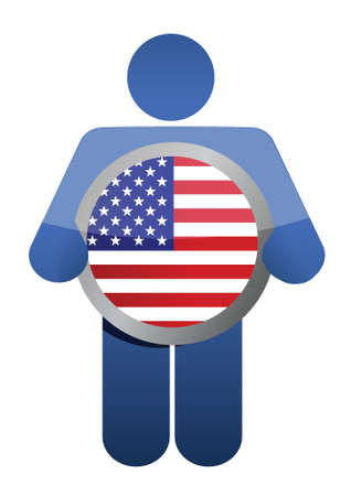 holding american flag illustration design over white Stock Vector - 17153782