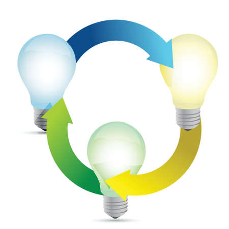 Modern organization of high-tech bulbs connected illustration design Vector