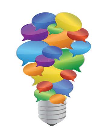 scriibble: colorful message bubble bulb illustration design over white Illustration