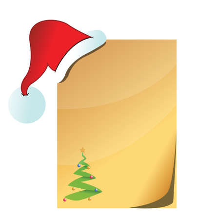 paper with Santa Claus hat illustration design over a white background Vector