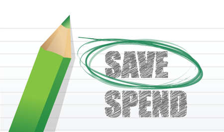 less: Save instead of Spend illustration design over white