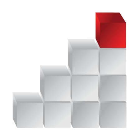steps with red block illustration design over white Vector