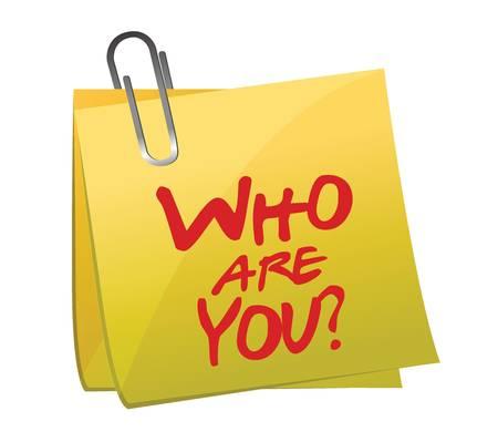 personalit�: Chi Sei post it design illustrazione su bianco