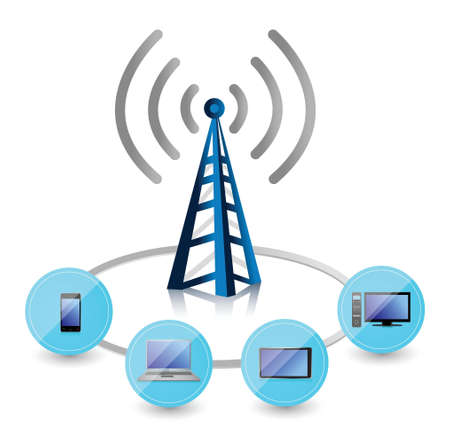 Wifi tower connected to a set of electronics illustration design Vector