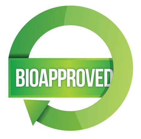 environmental awareness: Green Bioapproved stamp illustration design over white