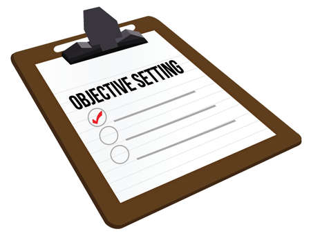 Objective Setting clipboard illustration design over white Vector
