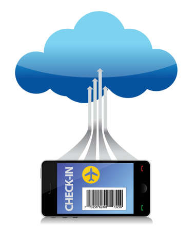 using smartphone: finding flight using a smartphone connected to a cloud. Illustration Illustration