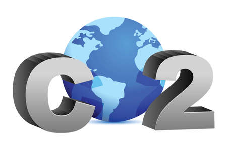 carbon emission: CO2 pollution in 3Ds style illustration design over white