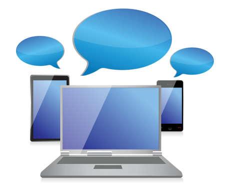 Social networking chat symbol concept illustration design over white Ilustração