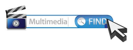 multimedia: Multimedia search bar illustration design over white