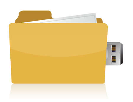 yellow usb folder concept on white background Stock Vector - 17178452