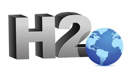 hidrógeno: Fórmula H2O agua ilustración del diseño sobre blanco Vectores