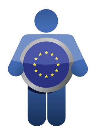 holding european union flag illustration design over white Stock Vector - 17178439