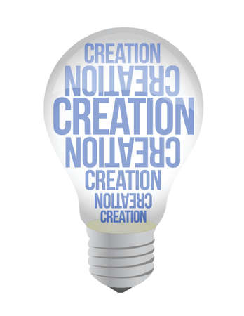 Light Bulb With Creation Text illustration design over white