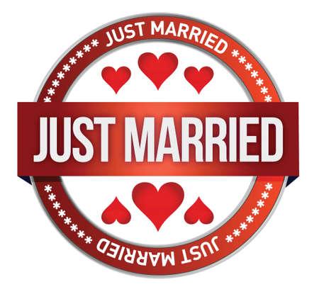 recien casados: Impresi�n Just Married stamp dise�o ilustraci�n sobre blanco Vectores