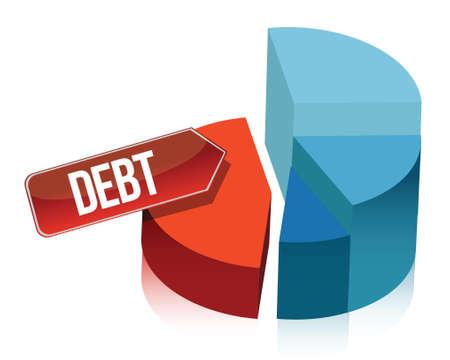 Debt pie chart illustration design over white