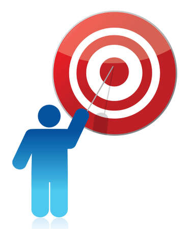 people - man, person pointing a target illustration design over white Stock Vector - 17182595
