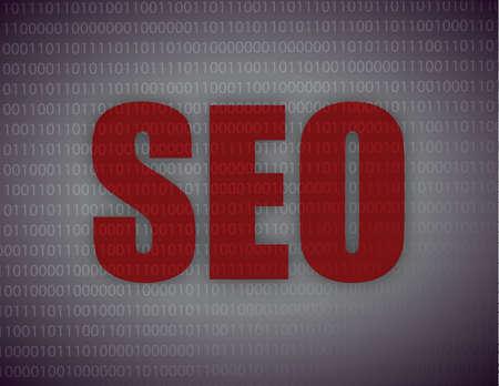 SEO written in red illustration design over white Stock Vector - 17183222