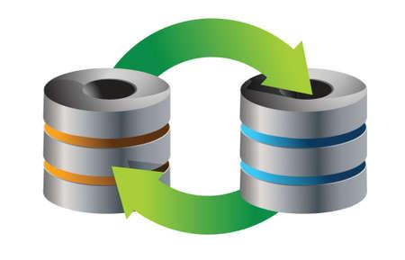 hardware store: servers Database backup concept illustration design over white Illustration