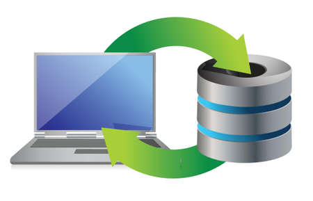 server and laptop Database backup concept illustration design over white