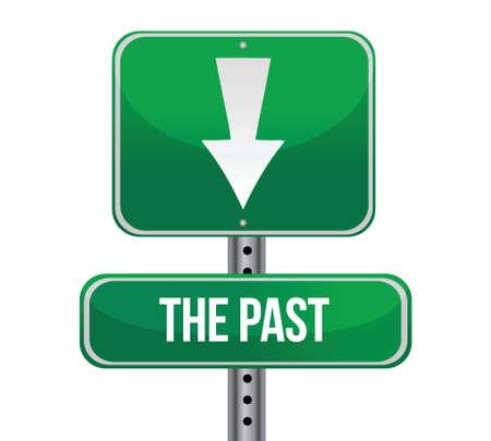 과거, 화이트 통해 당신 녹색 도로 기호 그림 디자인 뒤에 일러스트