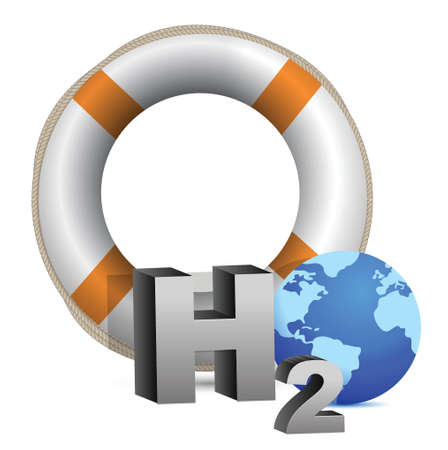 h20: concept of a water crisis illustration design over white