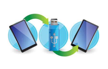 flash point: Computer flash drive around two tablets illustration design over white
