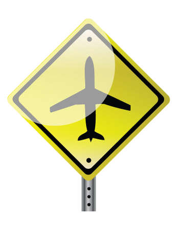 triangular road sign with plane illustration design over white Stock Vector - 17250195