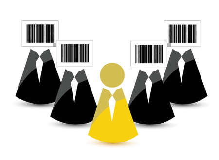 identify: bar code instead of the head and one with a normal head. Illustration Illustration