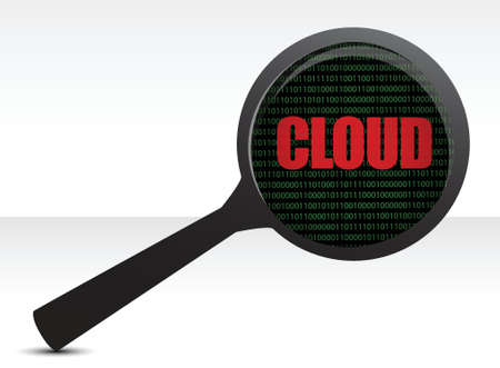 Web cloud magnifier search illustration over white Vector