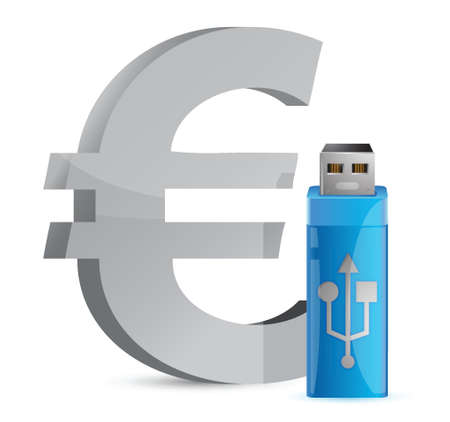 valuta: currency sign USB memory stick illustration graphic design