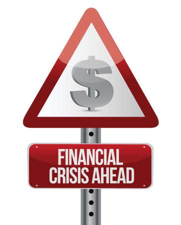 risico analyse: waarschuwing verkeersbord met een financiële crisis concept. Illustratie