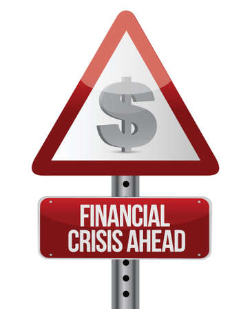 warning road sign with a financial crisis concept. Illustration Stock Vector - 17250223