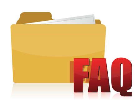 illustration folder faq over a white background Stock Vector - 17250151