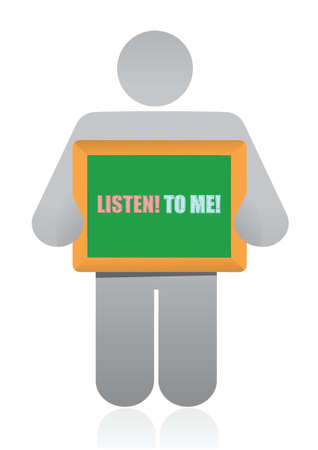 placard that reads Listen to Me illustration design over white