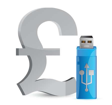 valuta: currency sign USB memory stick illustration graphic design
