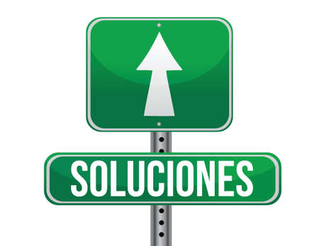 solutions Spanish sign illustration design isolated over white 矢量图像