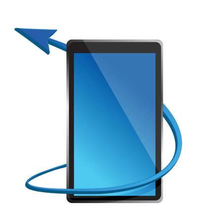 one tablet pc that shows the concept of internet illustration design Vector