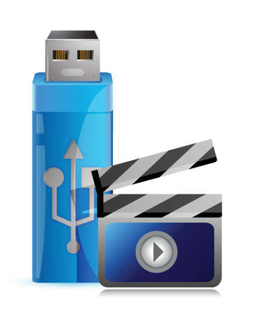 Usb flash drive with multimedia video illustration graphic design Stock Vector - 17250295