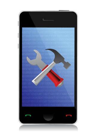 phone setting tools illustration design over white Stock Vector - 17250225