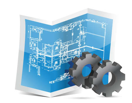 Gears blueprint graphic illustration design over white Vector