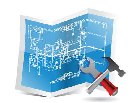 blueprint and tools illustration trifold design over white Vector