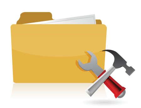 dir: folder settings tools illustration design over white