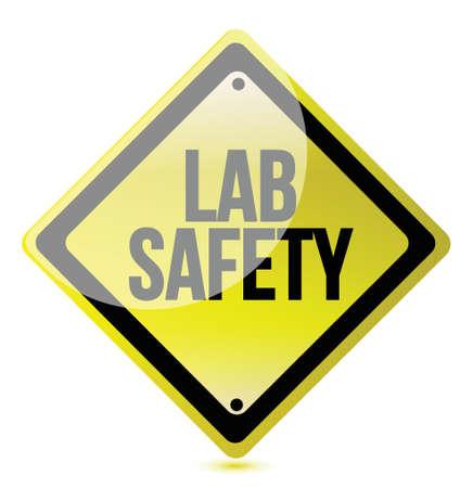 over lab: lab safety sign illustration design over a white background Illustration
