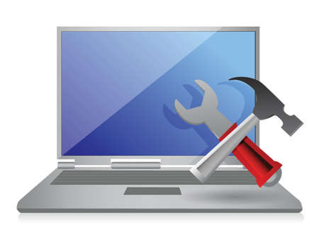 laptop screen: Laptop with hammer and wrench. illustration design