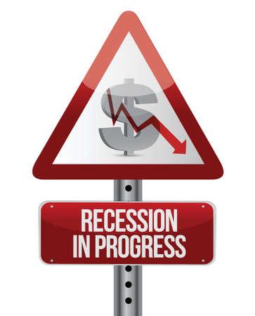 heed: recession in progress illustration design over white