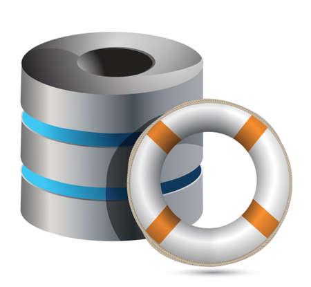 life belt with a Server tower illustration design Stock Vector - 17250317