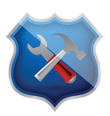 shield hammer and Wrench Icon illustration design over white