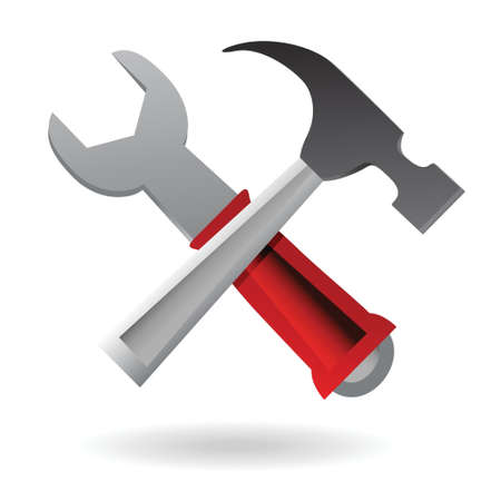 tooling: hammer and Wrench Icon illustration design over white