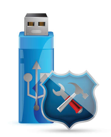 USB Flash Drive with Shield illustration design Stock Vector - 17250303